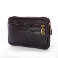 腰带上的手机包男士腰间钥匙钱包中老年手机袋腰包穿皮带横款皮的