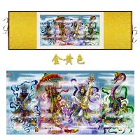 四大天王丝绸卷轴画 佛教神像四大护法镇宅挂画 已装裱可定做 160*65 加锦盒