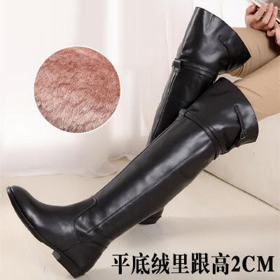 长筒皮靴马靴长靴女过膝秋冬2018新款大筒围女靴加绒40大码43平底SN6380  41 标准码数