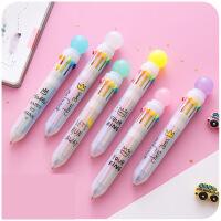 小清新圆珠笔多色可爱彩色创意韩国批发黑色原子油笔芯学生用文具