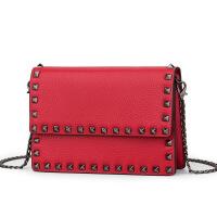 春季新款欧美时尚女包斜跨包链条女包户外休闲小方包百搭少女化妆包单肩手提小方包 红色