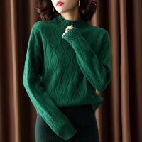 2018新款加厚毛衣女套头长袖高领祖母绿纯羊绒打底针织
