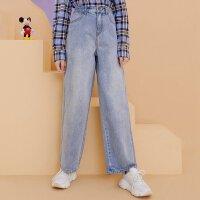 【1件5折到手价:192.5】MECITY女装2020春季新款迪士尼联名米奇直筒牛仔裤