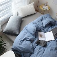 北欧纯色全棉混搭拼色1.5M床单四件套日式水洗棉简约1.8M床笠被套