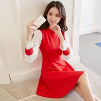 春装 修身连衣裙 红色