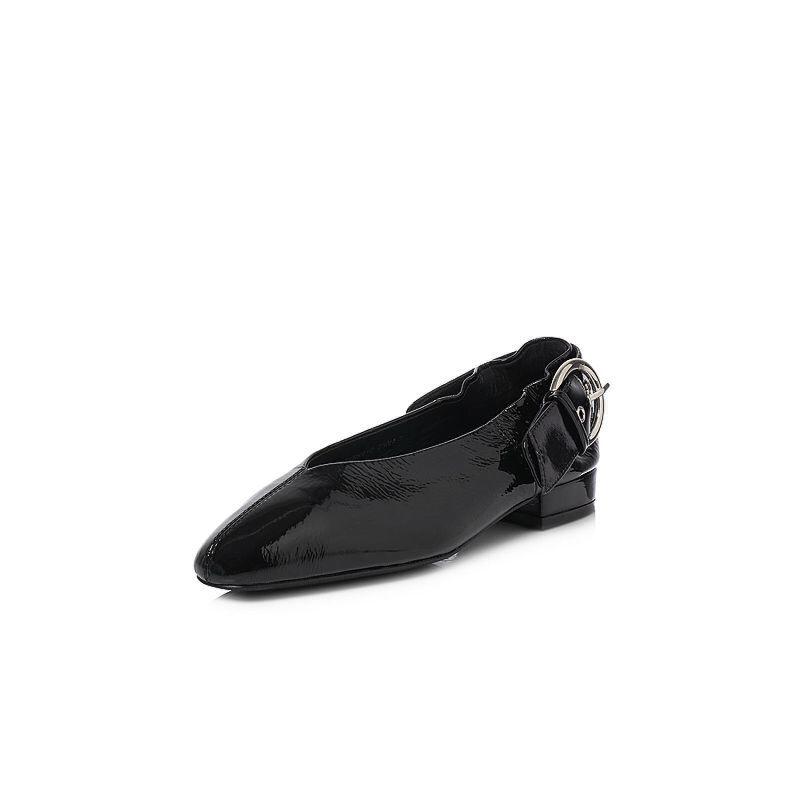 BASTO/百思图2018春季专柜同款光面牛皮小V口方跟女单鞋YRK01AQ8