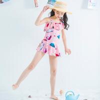 儿童泳衣女孩可爱连体游泳衣宝宝中大童公主女童韩国裙式防晒泳装