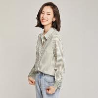 梵希蔓港风竖条纹衬衫设计感小众春秋新款韩版蕾丝长袖上衣