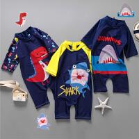 男童防晒连体冲浪服套装小童户外泳装儿童连体泳衣