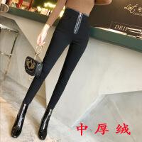 网红同款加绒打底裤女外穿秋冬黑色紧身铅笔高腰弹力显瘦小脚裤长