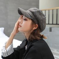 贝雷帽女秋冬天鸭舌八角帽休闲蓓蕾帽冬季复古画家帽