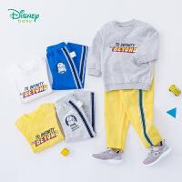 迪士尼Disney童装 男童卫衣套装春季新品儿童字母印花长袖上衣裤子休闲运动服191T862