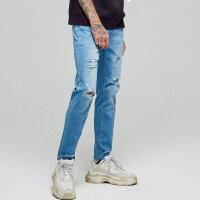 【1件2.5折到手价:49.8】美特斯邦威浅色牛仔裤男破洞潮夏季潮酷学生舒适小脚修身牛仔长裤