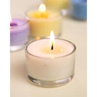 小圆玻璃杯蜡烛烛台 除烟去味浪漫烛光晚餐 精油香薰蜡烛 白色 香草-小圆杯