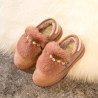 女童短靴低筒2018冬季新款雪地靴宝宝棉靴加绒童鞋子儿童公主靴子