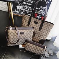 新款三件套女包 子母包手提包欧美时尚 帆布包单肩斜挎包撞色大包SN5570