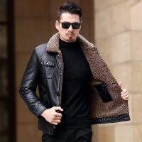 皮衣男外套冬季休闲加绒皮夹克男皮毛一体冬装加厚中年男