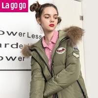 【618大促-每满100减50】Lagogo2017冬季新款时尚连帽宽松长袖羽绒服加厚女中长款保暖外套