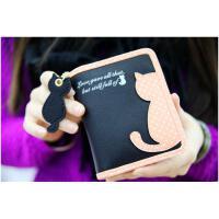 韩版小清新甜美可爱猫咪吊坠女式长短款拉链钱包钱夹卡包 短款黑色