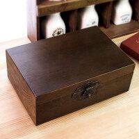 2018新品木质老木盒子带锁做旧收纳盒复古大木箱子小木箱家居家装收纳用品整理盒子储物盒置物