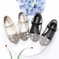 女童皮鞋春秋新款韩版平底中大童小女孩黑色格子公主鞋儿童单鞋女