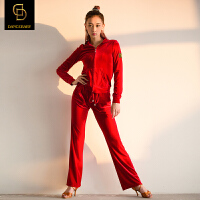 dancebaby拉丁舞服装女新款丝绒套装舞衣舞蹈表演练功服DA465