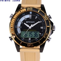 新款多功能三针双显冷光电子防水户外商务高端休闲运动手表三达表