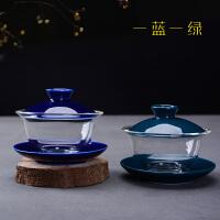 耐热玻璃三才盖碗茶杯陶瓷功夫茶具大号加厚泡茶手抓茶碗茶道配件