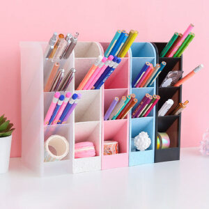【单件包邮】斜插式笔筒创意时尚多功能韩国女办公室笔架收纳盒小清新桌面摆件