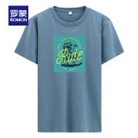 【2折预估到手价:44叠券更优惠】罗蒙男士潮流印花T恤2021夏季薄款亲肤透气短袖上衣中青年打底衫