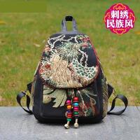2018新款民族风刺绣花包亮片复古女包凤凰牡丹时尚书包双肩背包潮