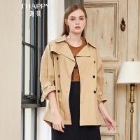 2018秋季新款女装外套英伦风纯色西装领双排扣七分袖中长款风衣