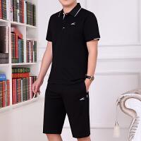 时尚男士运动套装薄款翻领短袖短裤运动服健身服休闲大码跑步服