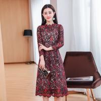 2018春装新款时尚百搭波浪领气质显瘦蕾丝中长款A字连衣裙 红色