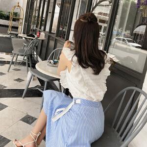 谜秀半身裙女2018夏装新款韩版学生森系条纹小清新中长款裙子夏潮