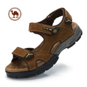 骆驼牌男凉鞋2018夏季男士户外休闲凉皮鞋真皮露趾魔术贴沙滩凉鞋