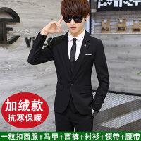 男士西服套装青少年韩版小西装三件套学生休闲西装结婚正装潮xx
