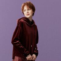 【全场2件2.5折,到手价:59.8】美特斯邦威红色连帽卫衣女秋季新款韩版潮流上衣丝绒休闲外套