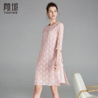 颜域品牌女装2018夏季新款a字裙优雅气质七分袖中长款蕾丝连衣裙