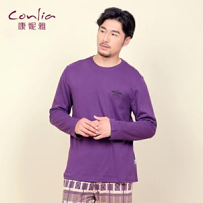 康妮雅家居服 时尚男士棉质薄款圆领长袖套装先领卷后购物 满399减50