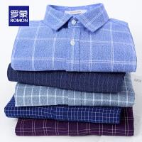 Romon/罗蒙长袖衬衫男士休闲磨毛衬衣中青年秋季新款格子寸衫