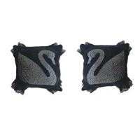 汽车头枕护颈枕可爱卡通带钻天鹅蝴蝶车载一对座椅腰靠垫车用抱枕