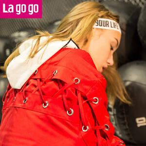 Lagogo2017年冬季新款棒球服系带红色夹克上衣休闲外套韩版棉服女