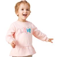 【2件2.5折叠券约:36,12日0点】美特斯邦威旗下moomoo童装女幼童冬季加绒卫衣女宝宝新款可爱字母印花套头衫