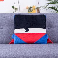 抱枕被子两用冬季加厚法兰绒空调被办公室午睡毯汽车沙发靠垫靠枕 加厚双层款(毯子 1.1m x 1.8m)