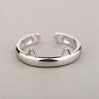 欧丁创意S925纯银猫咪戒指女 可爱日韩开口食指尾戒 原创个性银饰礼物T