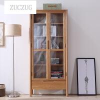 ZUCZUG橡木玻璃书柜书架带门 北欧简约纯全实木书橱组合 展示储物柜日式 工厂直销!两门玻璃书柜 0.6-0.8米宽