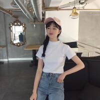 半高领短袖T恤chic上衣女春装2018新款韩版百搭打底衣服体恤学生