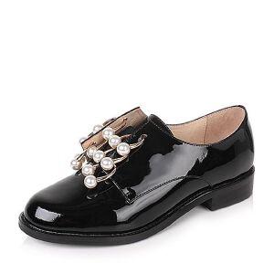 Tata/他她2017秋黑色漆牛皮英伦金属风套脚方跟女单鞋6ZB93CM7