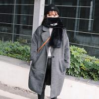 复古百搭纯色宽松廓形呢子大衣冬装新款韩版开衫中长款毛呢外套女